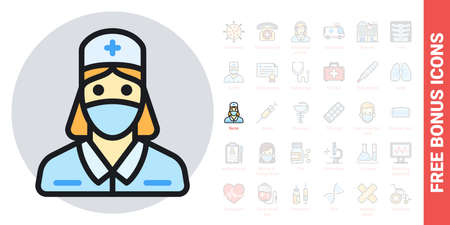 Nurse, doctor or medical staff icon. Young woman in medical mask and medical gown. Simple color version. Contains free bonus icons kit 版權商用圖片 - 147415097