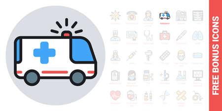 Ambulance car icon. Simple color version. Contains free bonus icons kit