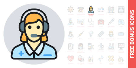 Emergency service, ambulance call or operator icon. Young woman with a headphone takes a call. Simple color version. Contains free bonus icons kit 向量圖像