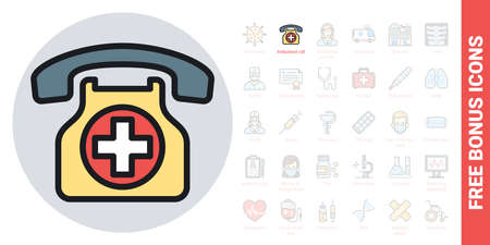 Ambulance call or emergency phone icon. Simple color version. Contains free bonus icons kit