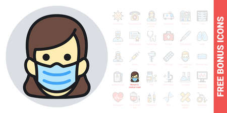 Woman in medical face protection mask. Protective surgical mask icon. Simple color version. Contains free bonus icons kit