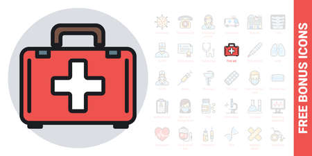 First aid, help or doctor bag icon. Simple color version. Contains free bonus icons kit Ilustracja