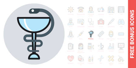 Pharmacy icon with caduceus symbol or hygieia bowl. Simple color version. Contains free bonus icons kit