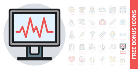 Medical diagnostic or monitoring equipment icon. Simple color version. Contains free bonus icons kit