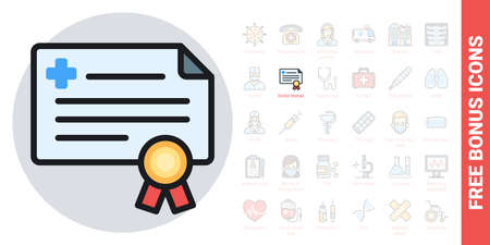 Doctor license or medical certificate icon. Simple color version. Contains free bonus icons kit