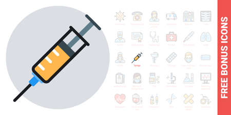 Syringe, medical injection or vaccination concept icon. Simple color version. Contains free bonus icons kit 版權商用圖片 - 147415108
