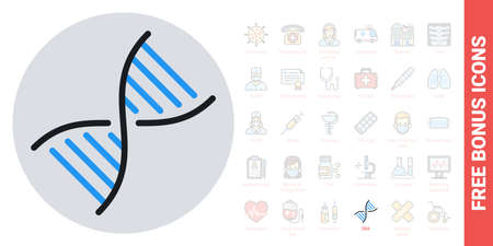 DNA, gene or genome icon. Simple color version. Contains free bonus icons kit
