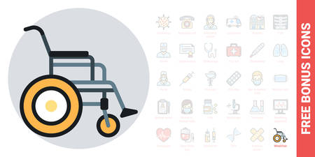 Wheelchair icon, disabled person concept. Simple color version. Contains free bonus icons kit