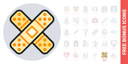 Adhesive plaster, bandage plaster  icon. Simple color version. Contains free bonus icons kit
