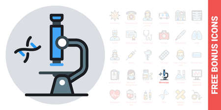 Microscope icon. Laboratory equipment concept. Simple color version. Contains free bonus icons kit