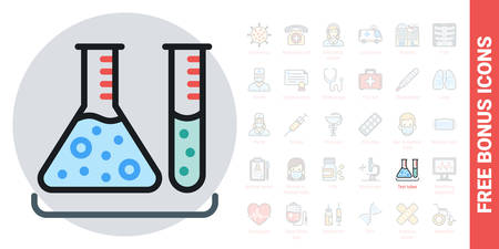 Test tubes icon. Laboratory equipment concept. Simple color version. Contains free bonus icons kit