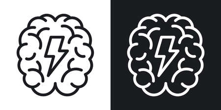 Brainstorm or brainstorming icon. Human brain with a lightning bolt inside. Minimalistic two-tone vector illustration on black and white background