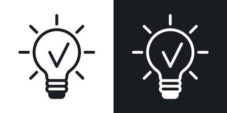 Business idea concept icon. Light bulb with a checkmark inside. Simple two-tone vector illustration on black and white background 向量圖像