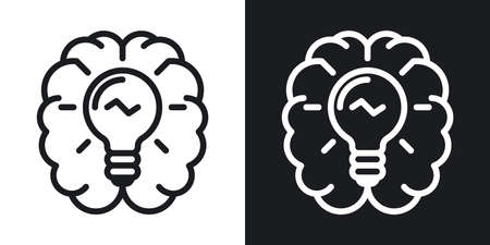 Inspiration or imagination icon. Human brain with a light bulb inside. Simple two-tone vector illustration on black and white background