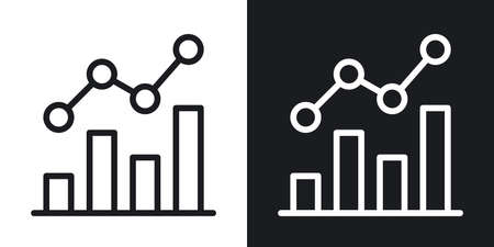 Line chart, graph or diagram icon. Simple two-tone vector illustration on black and white background