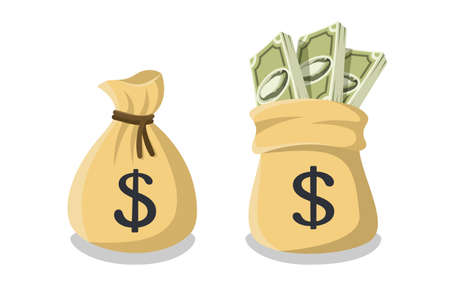 Tied money or bank bag and untied money bag with a dollar sign and sticking out bundles of dollar bills. Vector illustration in cartoon style isolated on white background