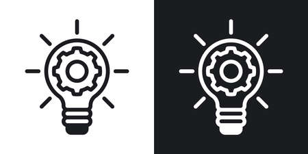 Business innovation concept icon. Light bulb with a gear inside. Simple two-tone vector illustration on black and white background
