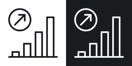 Growth chart icon. Concept of growing sales or increasing profits in business. Simple two-tone vector illustration on black and white background