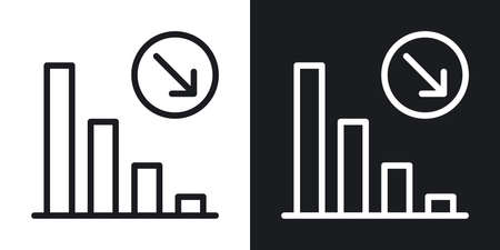 Decline chart icon. Concept of falling stock markets or declining profits in business. Simple two-tone vector illustration on black and white background 向量圖像