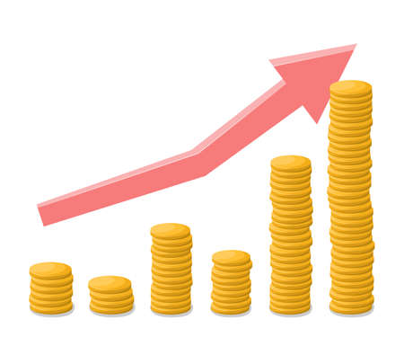 Growth chart with gold coins. Growing stacks of gold coins with going up graph. Making money concept 向量圖像
