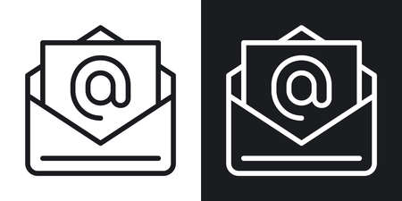 E-Mail, corporate messenger or team chat icon. Simple two-tone vector illustration on black and white background