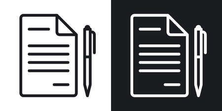 Contract, agreement or business papers icon. Simple two-tone vector illustration on black and white background