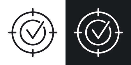 Business target, goal or aim icon. Simple two-tone vector illustration on black and white background 向量圖像