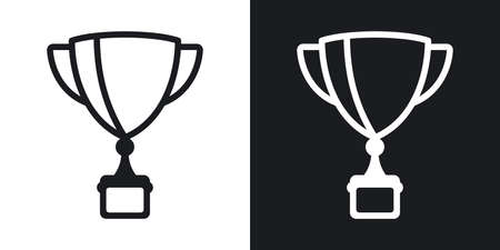 Award cup, winner cup or champion cup icon. Business success concept. Simple two-tone vector illustration on black and white background