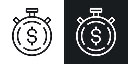 Time is money concept icon. Stopwatch with dollar sign inside. Simple two-tone vector illustration on black and white background