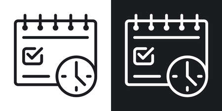 Deadline concept icon. Calendar with clock and date marked with a tick. Simple two-tone vector illustration on black and white background