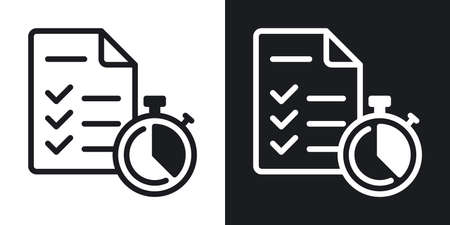 Schedule, scheduler or planner icon. To-do list or checklist and stopwatch. Simple two-tone vector illustration on black and white background