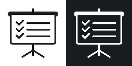 Business planning conceptual icon. Presentation billboard icon with to-do list or checklist. Simple two-tone vector illustration on black and white background 向量圖像