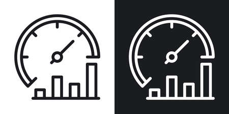 Business process optimization icon. Performance or productivity meter with growth chart. Simple two-tone vector illustration on black and white background
