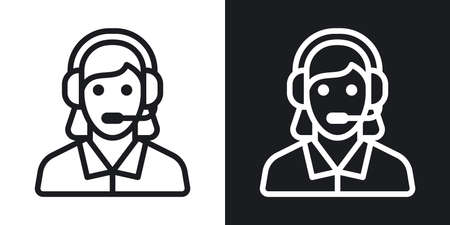 Technical support, customer support or customer care icon. Call center concept. Woman in headset answers customer requests. Simple two-tone vector on black and white background
