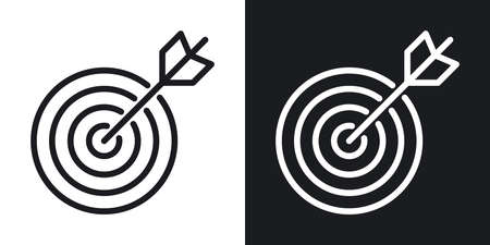 Business goal, target or aim icon. Target with an bow arrow. Simple two-tone vector illustration on black and white background