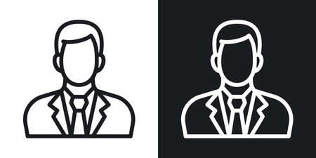 Businessman or business man icon. Man in business suit with tie. Simple two-tone vector illustration on black and white background 版權商用圖片 - 160770086