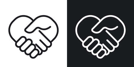 Handshake or partnership concept icon. Simple two-tone vector illustration on black and white background