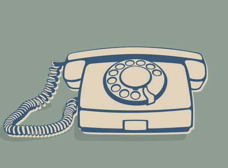 Vintage rotary telephone, old wired phone handset, retro telephone icon. Vector illustration isolated on a green background