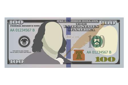 One hundred dollar bill, new design. 100 US dollars banknote, front side. Vector illustration of USD isolated on a white background Vektoros illusztráció