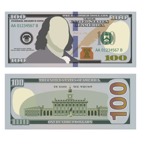 Hundred dollar bill, new design on both sides. 100 US dollars banknote, from front and reverse side. Vector illustration of USD isolated on white background