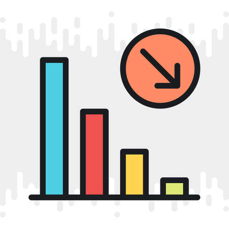 Decline chart icon. Concept of falling stock markets or declining profits in business. Simple color version on a light gray background