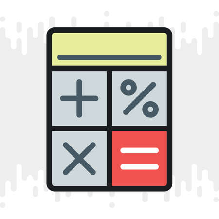Calculator icon. Simple color version on a light gray background