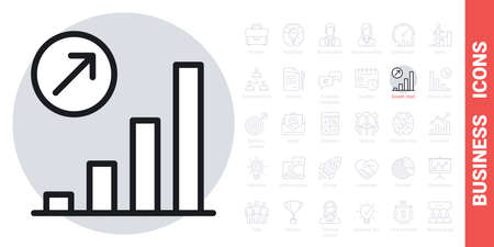 Growth chart icon. Concept of growing sales or increasing profits in business. Simple black and white version from a series of business icons