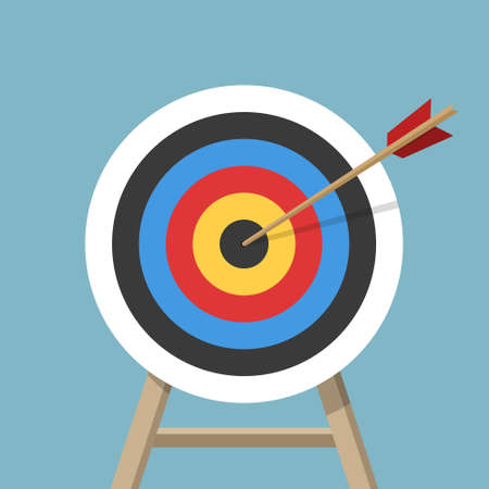 Target with an arrow, standing on a tripod. Archery or business goal concept. Vector illustration isolated on colored background