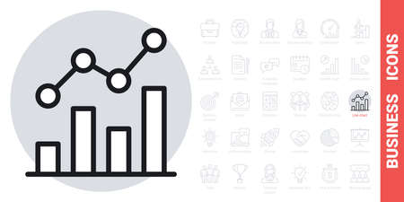 Line chart, graph or diagram icon. Simple black and white version from a series of business icons