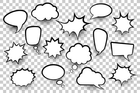 Set of speech bubbles in cartoon comic style on transparent background with halftone shadows. Vector illustration