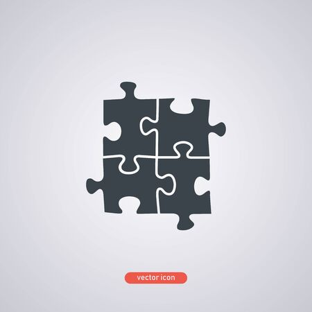 Puzzle icon on a white background. Vector illustration.