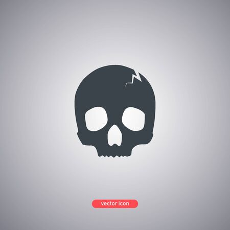 Skull silhouette icon isolated on a gray background. Icon in a flat style. Vector illustration. Ilustracja