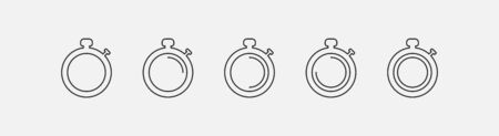 Set of clock icons isolated on gray background. Line icons in a modern style. Vector illustration.