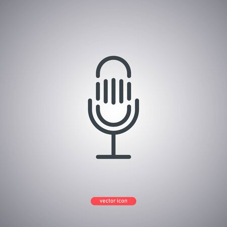 Microphone icon isolated on a gray background. Lines minimalistic style. Vector illustration.